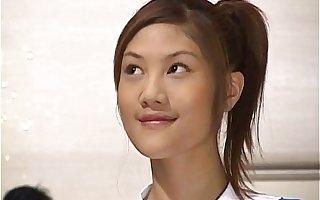 Naughty Asian teen Azusa Ayano gangbanged in hot bukkake making love scenes