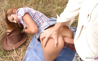 Rough Outdoor Anal for Ginger Girl by White Sensual Cock Guy