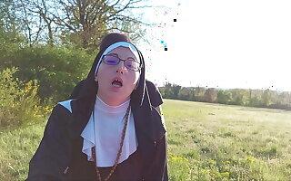 Sinful nun dilates her ass convenient slay rub elbows with erase of slay rub elbows with confessional!